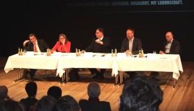 Die RitterInnen der Tafelrunde (v.l.n.r.): Gunar Schellenberger (CDU), Claudia Dalbert ( GRÜNE), Olaf Zimmermann (Deutscher Kulturrat), Wulf Gallert ( LINKE), Detlef Wendt (SPD)