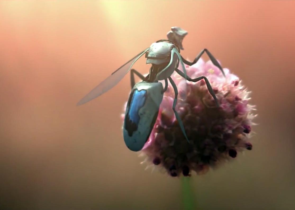 Roboterbiene bei der Bestäubung; Bild aus dem Film von Greenpeace