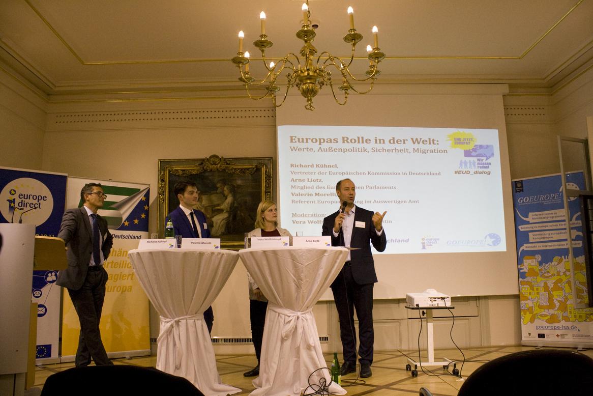 Was wird aus Europa? Bürgerdialog im Händelhaus in Halle, Podium im Themenraum 1