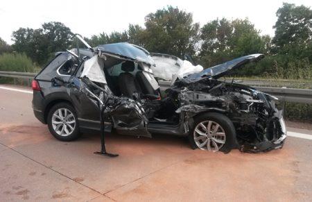 Crashfahrzeug nach der Löschung