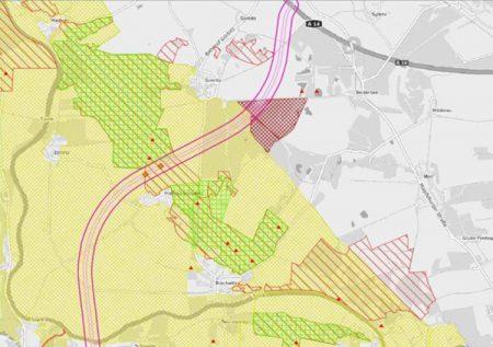 geplanter Verlauf der A143 Nord mit Schutzgebieten