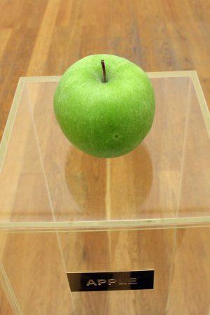 """Apple"""" von Yoko Ono: ein gründer Apfel wartet auf sein Verfaulen"""