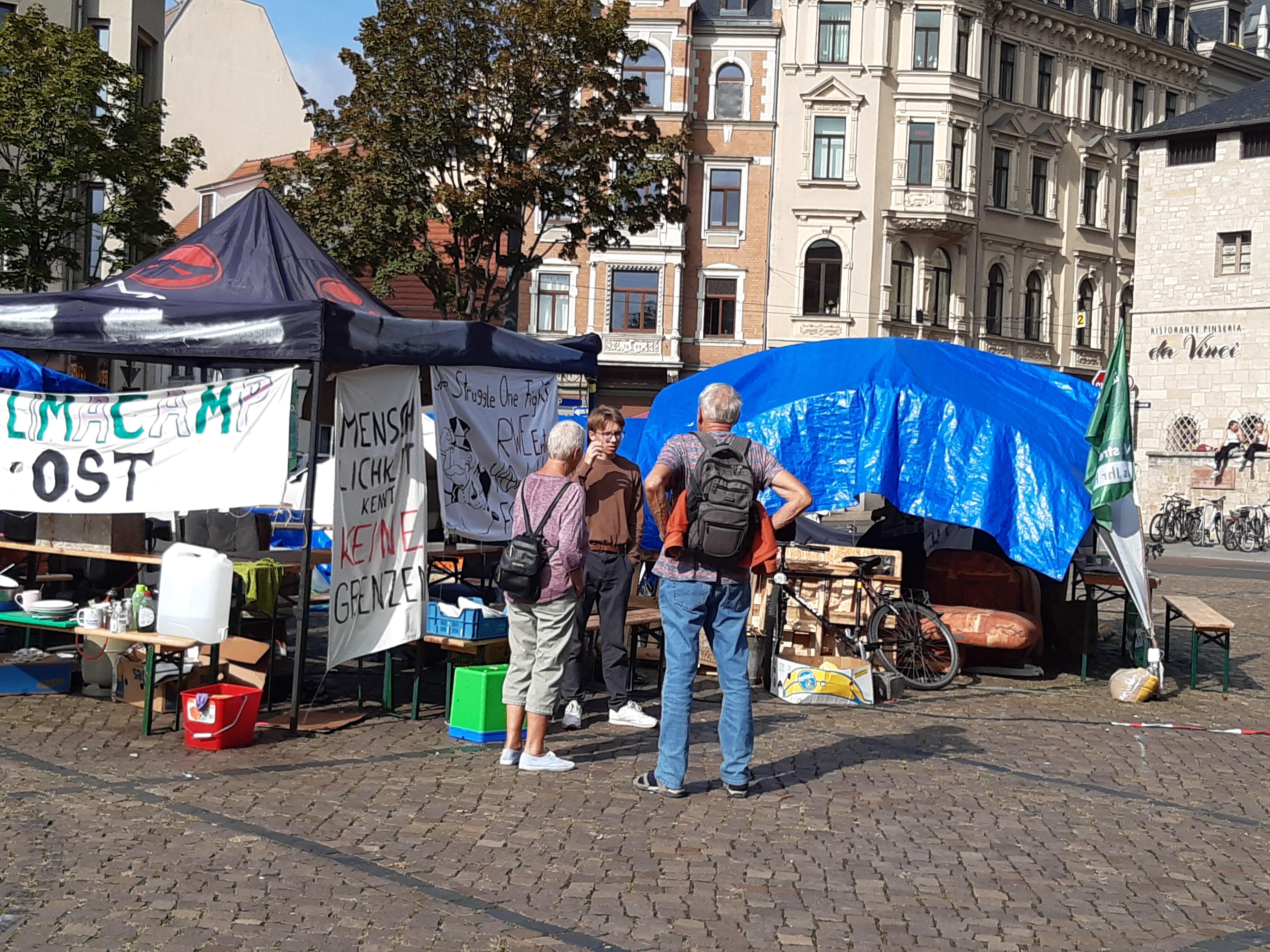 Klimacamp Ost auf dem Hallmarkt